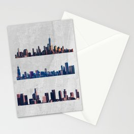 Chicago, New York City, And Los Angeles City Skylines Stationery Cards
