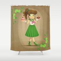 sailor jupiter Shower Curtains featuring Retro Sailor Jupiter by Crimson Pumpkin