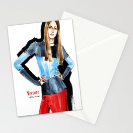 Fashion #16. Long-haired girl in fashionable dress-transformer Stationery Cards