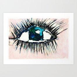 Eyes taped open Art Print