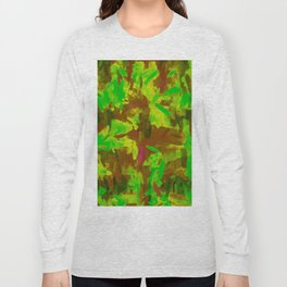 green yellow brown painting texture abstract background Long Sleeve T-shirt