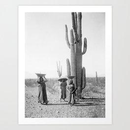 Vintage Native American Photo with Saguao Cactus Art Print