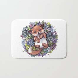fox in succlents Bath Mat
