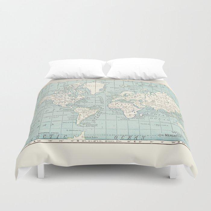 World Map in Blue and Cream Bettbezug