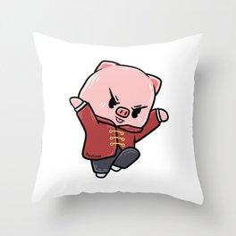 Pig children's sports karate martial arts gift Throw Pillow