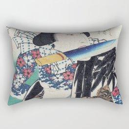 Kunichika Tattooed Warrior with Bamboo Pattern Background Rectangular Pillow