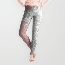 Christmas Floral, Pink and Snowy Gray Leggings