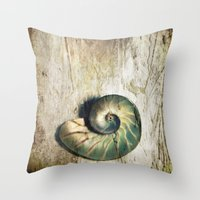 shell Throw Pillows featuring Shell by KunstFabrik_StaticMovement Manu Jobst