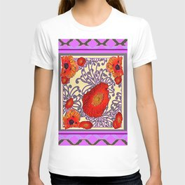 Decorative Lilac Poppy Floral T-shirt
