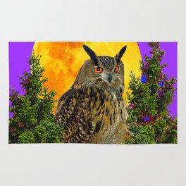 LONG-EARED OWL & MOON PANTENE PURPLE  ART DESIGN Rug
