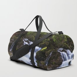 Magical waterfall in gorge Hell Duffle Bag