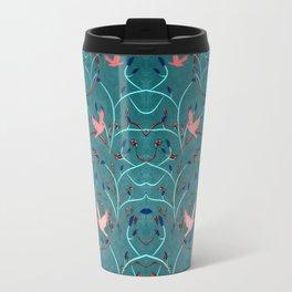 Art Nouveau Moon and Doves (Bronze and Blue) Travel Mug