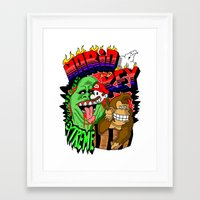 ghost busters Framed Art Prints featuring MARIO VS MONKEY VS BUSTERS by José López