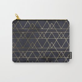 Modern Deco Gold and Marble Geometric Mountains on Navy Blue Carry-All Pouch