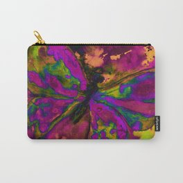Psychedelic pink and green butterfly with orange and yellow Carry-All Pouch