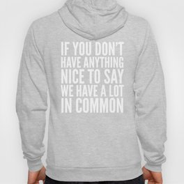 If You Don't Have Anything Nice To Say We Have A Lot In Common (Black) Hoody