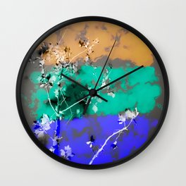 tree branch with leaf and painting abstract background in brown blue green black Wall Clock