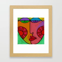 Colorful Abstract Digital Painting of a Face Framed Art Print