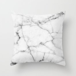 Pure White Real Marble Dark Grain All Over Throw Pillow
