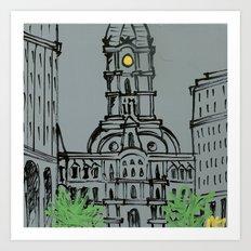 Little City Hall Sketch Art Print