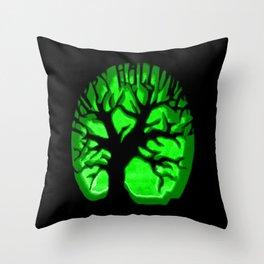 Happy HaLLoween Brain Tree : Green & Black Throw Pillow