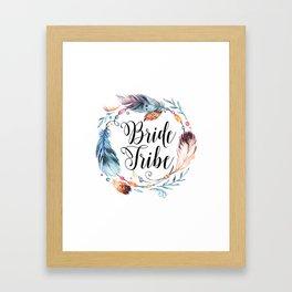 Bride Tribe Boho Feathers Framed Art Print