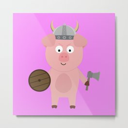 Viking Pig with helmet B9bpa Metal Print