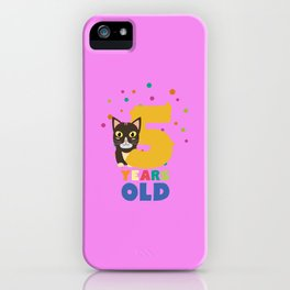 Five Years fifth Birthday Party Cat T-Shirt D3mib iPhone Case
