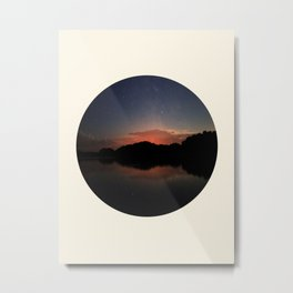 Mountain Sunset Silhouette With Stars Metal Print