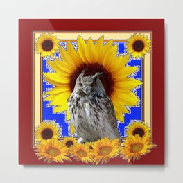 GREY OWL SUNFLOWERS  COFFEE BROWN  ART Metal Print