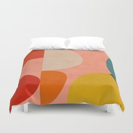 geometry shape mid century organic blush curry teal Duvet Cover