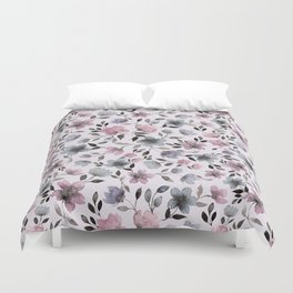 Watercolor floral pattern n.4 on pale pink Duvet Cover