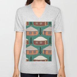 Cozy Yurts -n- Pines Unisex V-Neck