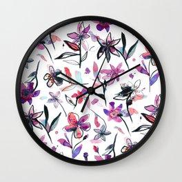Ink flowers pattern - Viola Wall Clock