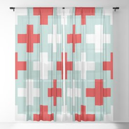 Red and White Crosses Sheer Curtain