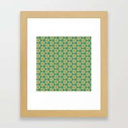 Hex Pattern 65 - Taupe/Turquoise Framed Art Print