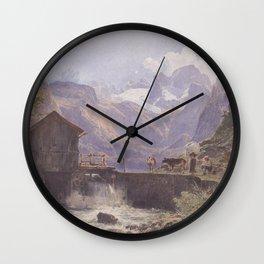 Hoher Dachstein From Lower Gosau 1838 by Rudolf von Alt | Reproduction Wall Clock