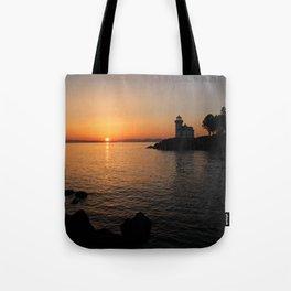 Lime Kiln Lighthouse Sunset Tote Bag