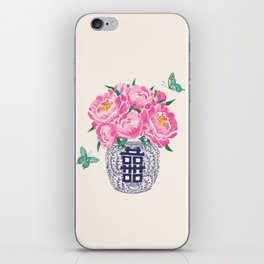 peony bouquet in ginger jar/cream iPhone Skin