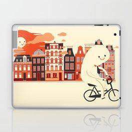 Happy Ghost Biking Through Amsterdam Laptop & iPad Skin