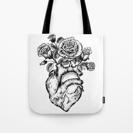 Roses and heart Tote Bag