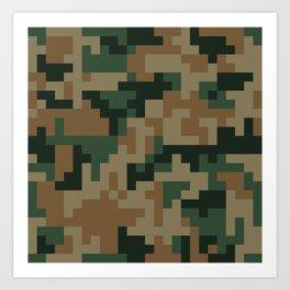 Green and Brown Pixel Camo pattern Art Print