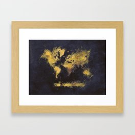 world map 65 yellow Framed Art Print