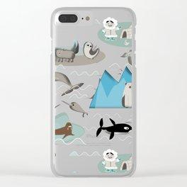 Arctic animals blue Clear iPhone Case
