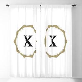 Vintage Letter X Monogram Blackout Curtain