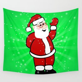 Christmas Santa in Red Suit Green Background Snow Wall Tapestry