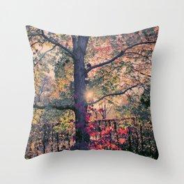 Lightful Autumn Tree Throw Pillow