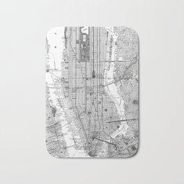 Vintage Map of New York City (1918) BW Bath Mat