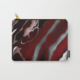 Two Toned Marble Red, Black, White Carry-All Pouch