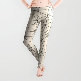 Stella - Atomic Age Mid Century Modern Starburst Pattern in Charcoal Gray and Almond Cream Leggings